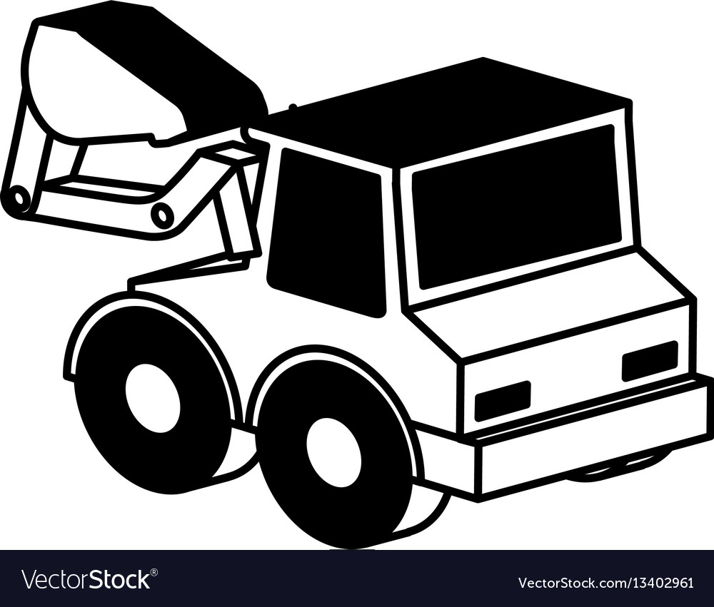 Excavator vehicle isometric icon