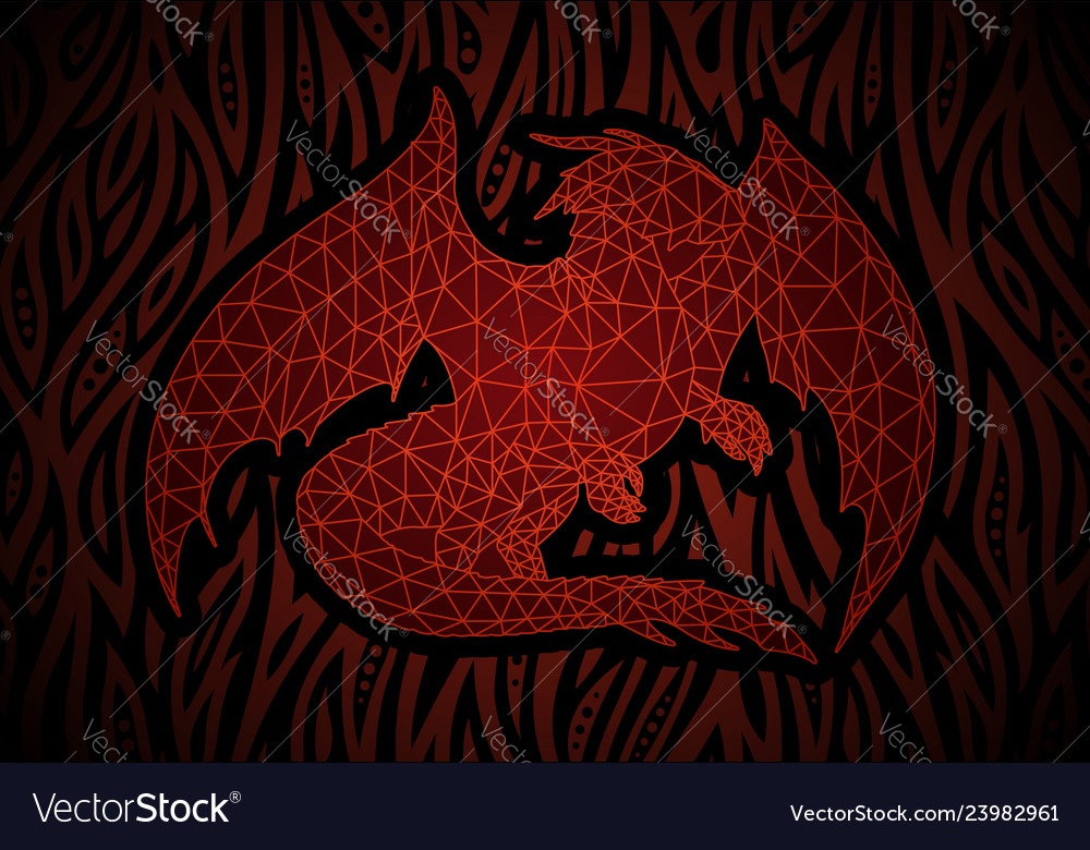 Fantasy Art With Red Dragon In Fire Royalty Free Vector