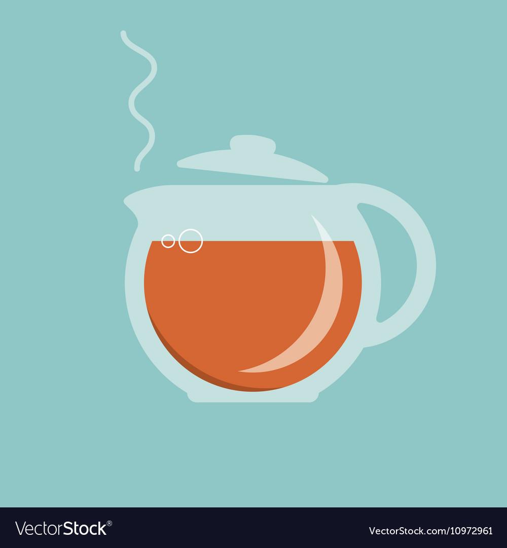 Glass teapot with hot tea icon