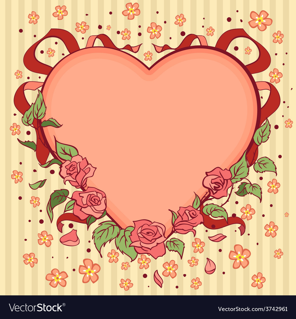 Heart Valentines day retro background vector image