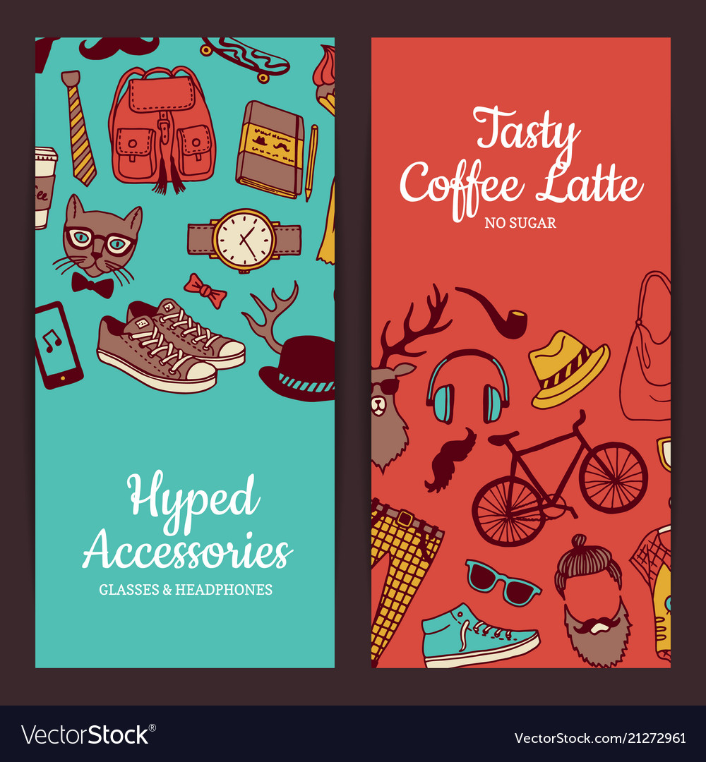 Hipster doodle icons banners