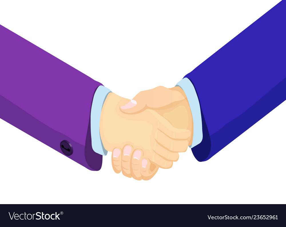 Isometric businessmen shake hands