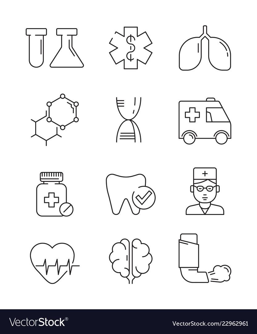Medical icons surgery anatomy doctors disease
