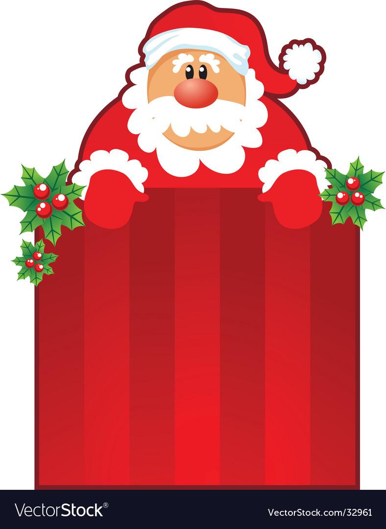 Santa and Christmas box vector image