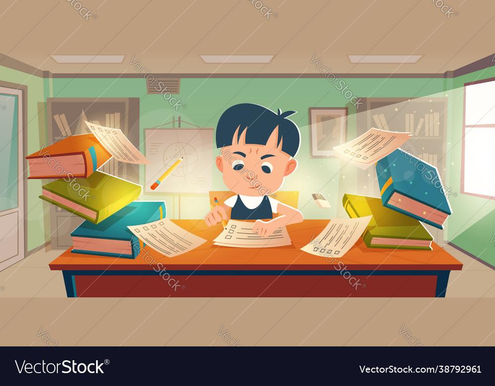 School student passing exam in classroom