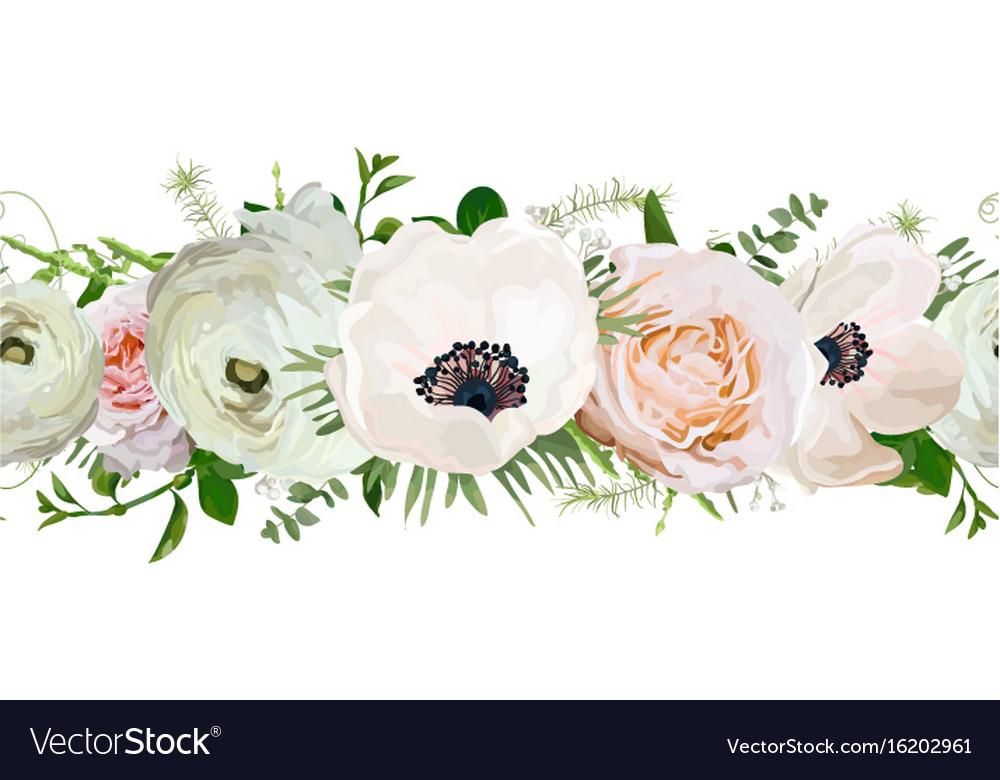 Seamless pattern of rose anemone ranunculus vector image
