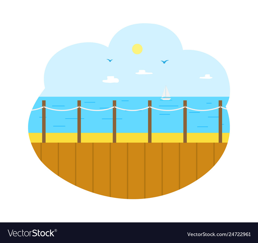 Seascape from wooden pier sea view isolated