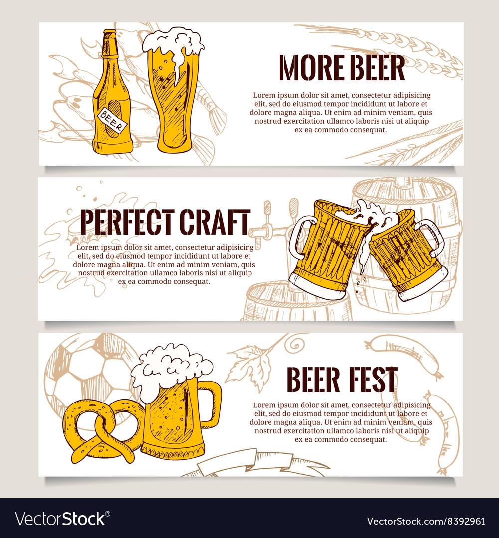 Set of vintage Beer Horizontal banners