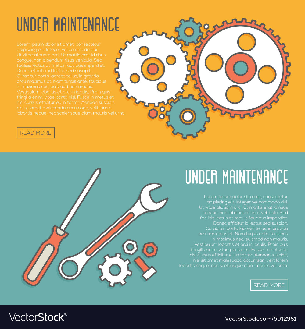 Under Maintenance Website Page Message Banners vector image