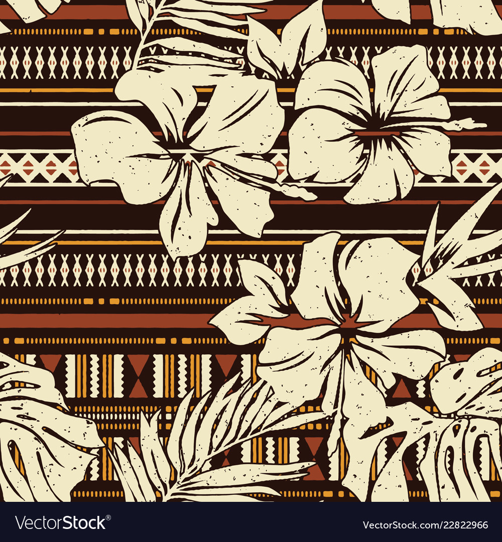 Abstract hibiscus flower tribal fabric wallpaper