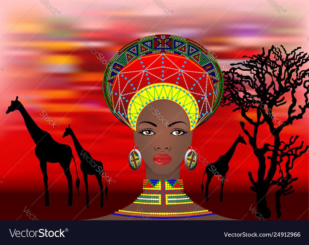 African tribe clothes female zulu bantu portrait