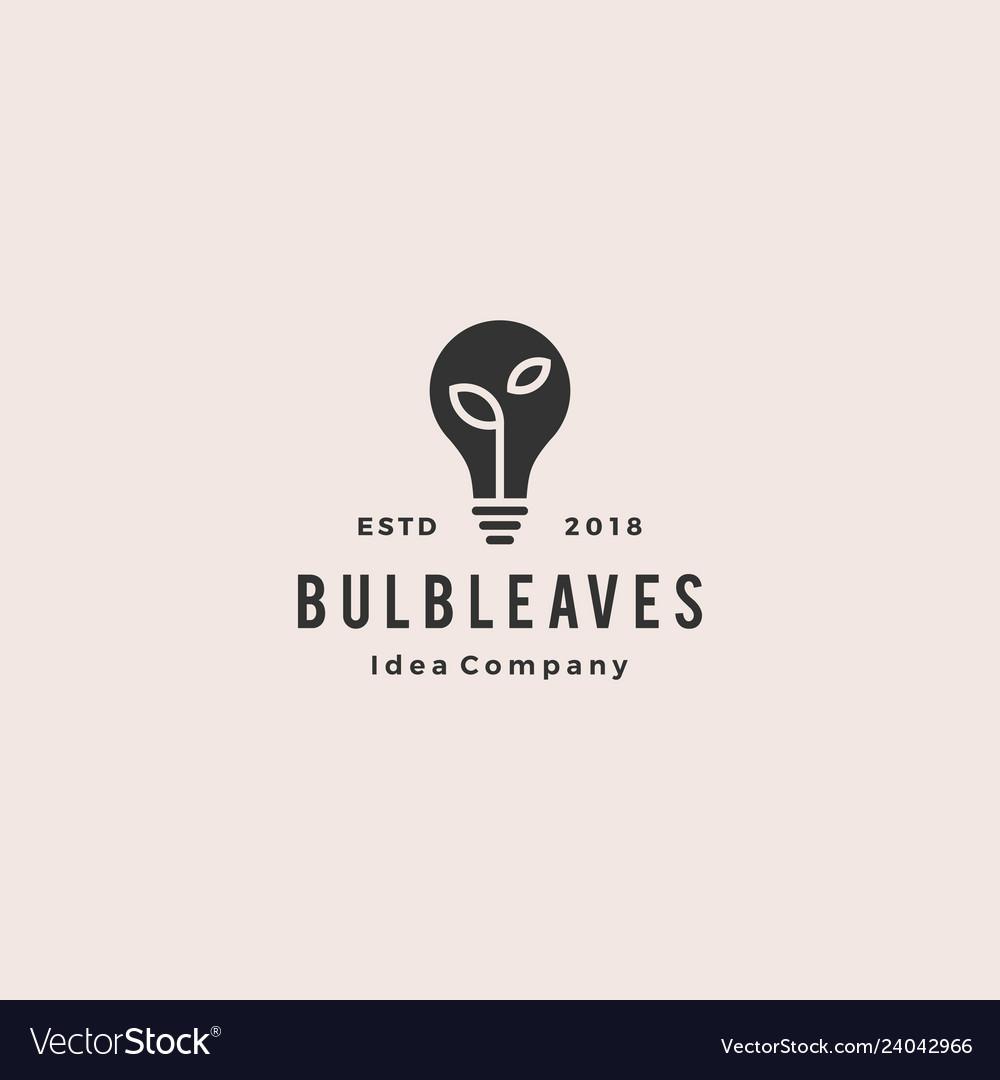 Bulb leaf logo hipster vintage retro icon