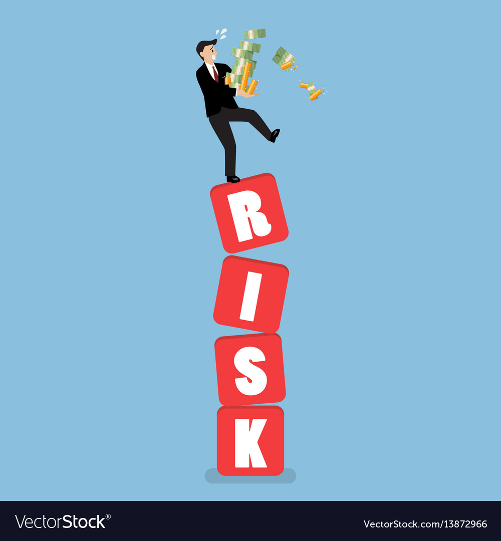 Businessman carrying his money on shaky risk vector image