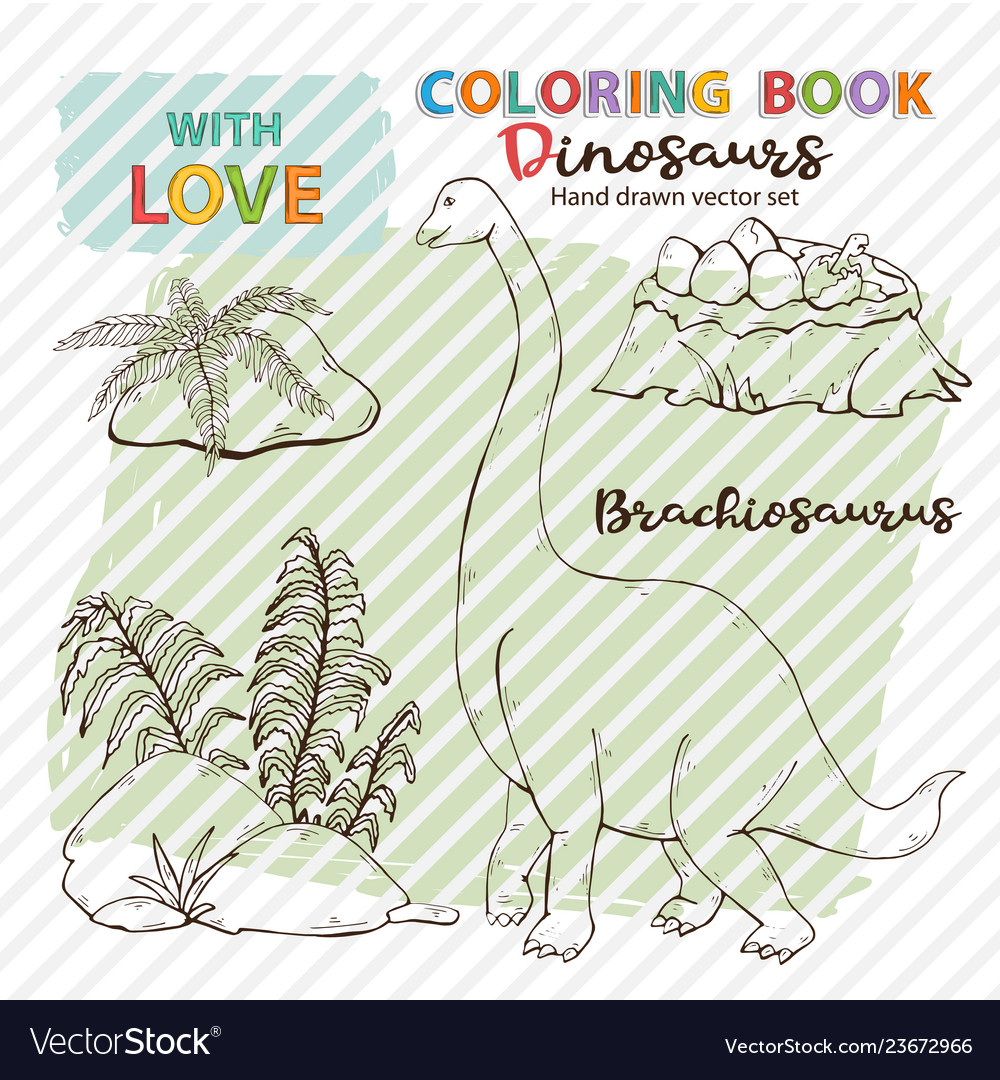 Coloring page antistress brachiosaurus and