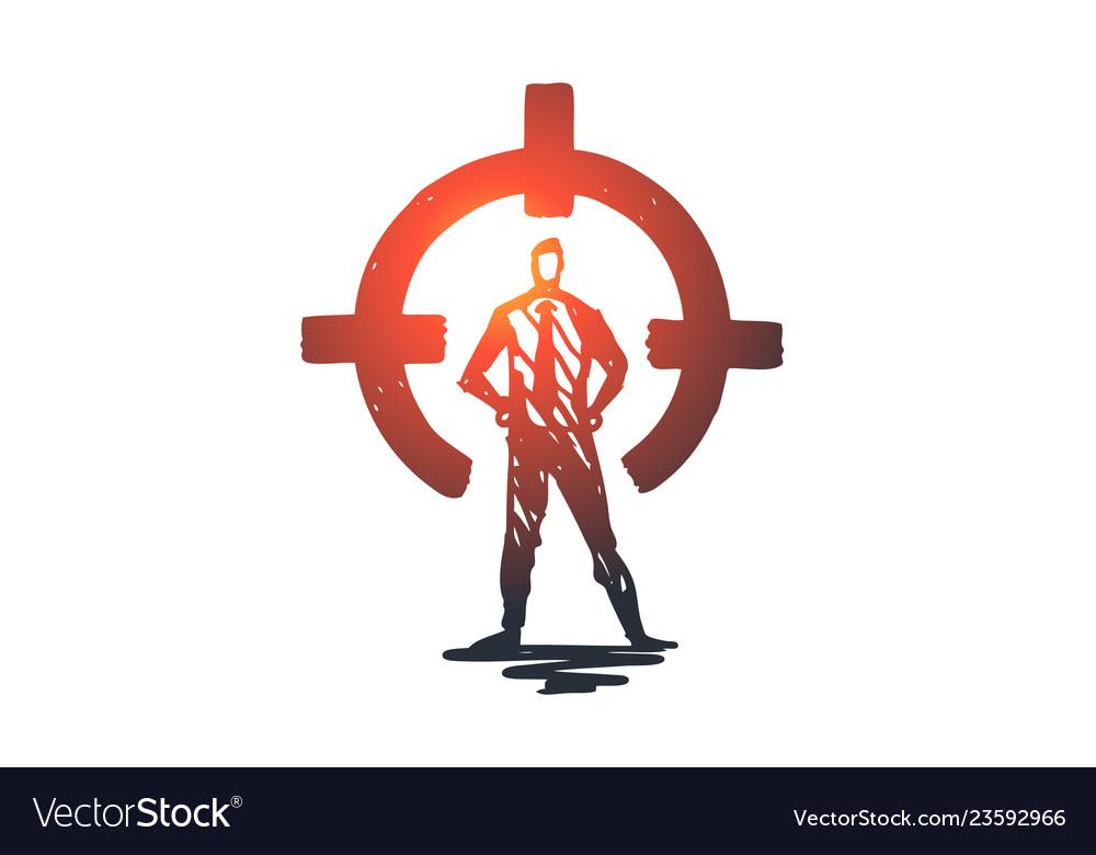 Control rear sight aim target circle concept