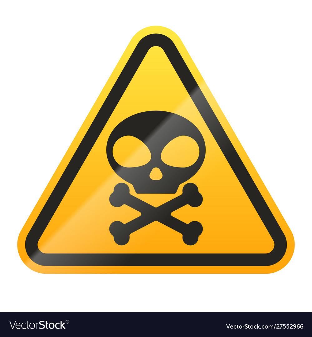 Danger skull and bones sign isolated on white