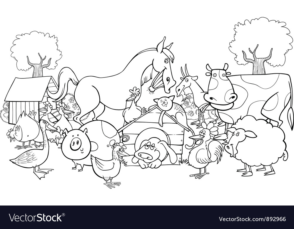 - Farm Animals For Coloring Royalty Free Vector Image
