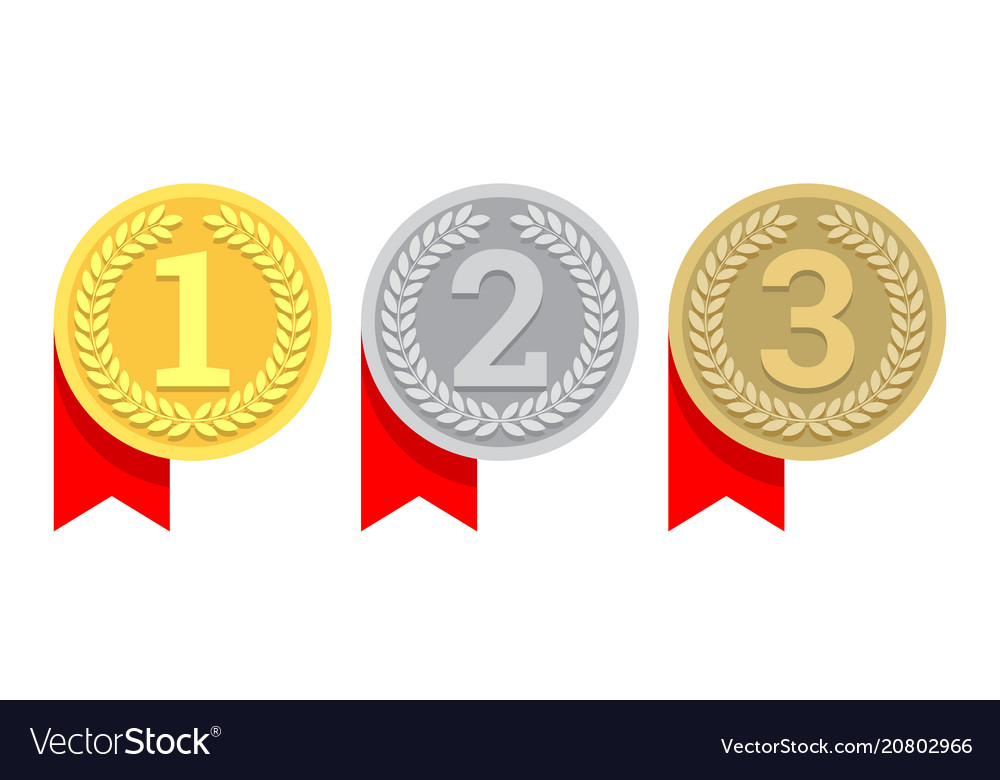 gold silver and bronze medal icon royalty free vector image. Black Bedroom Furniture Sets. Home Design Ideas