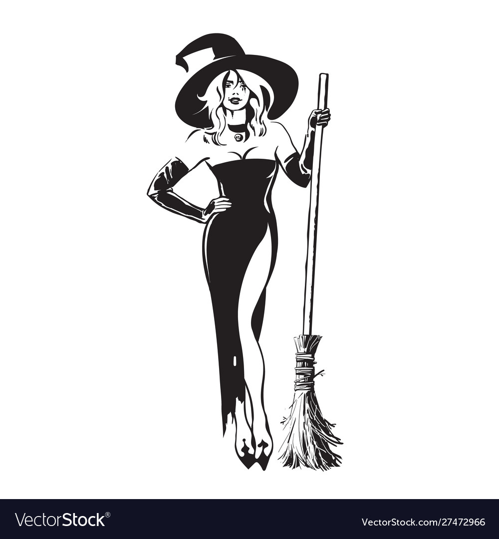 Halloween beautiful sexy witch holding broomstick