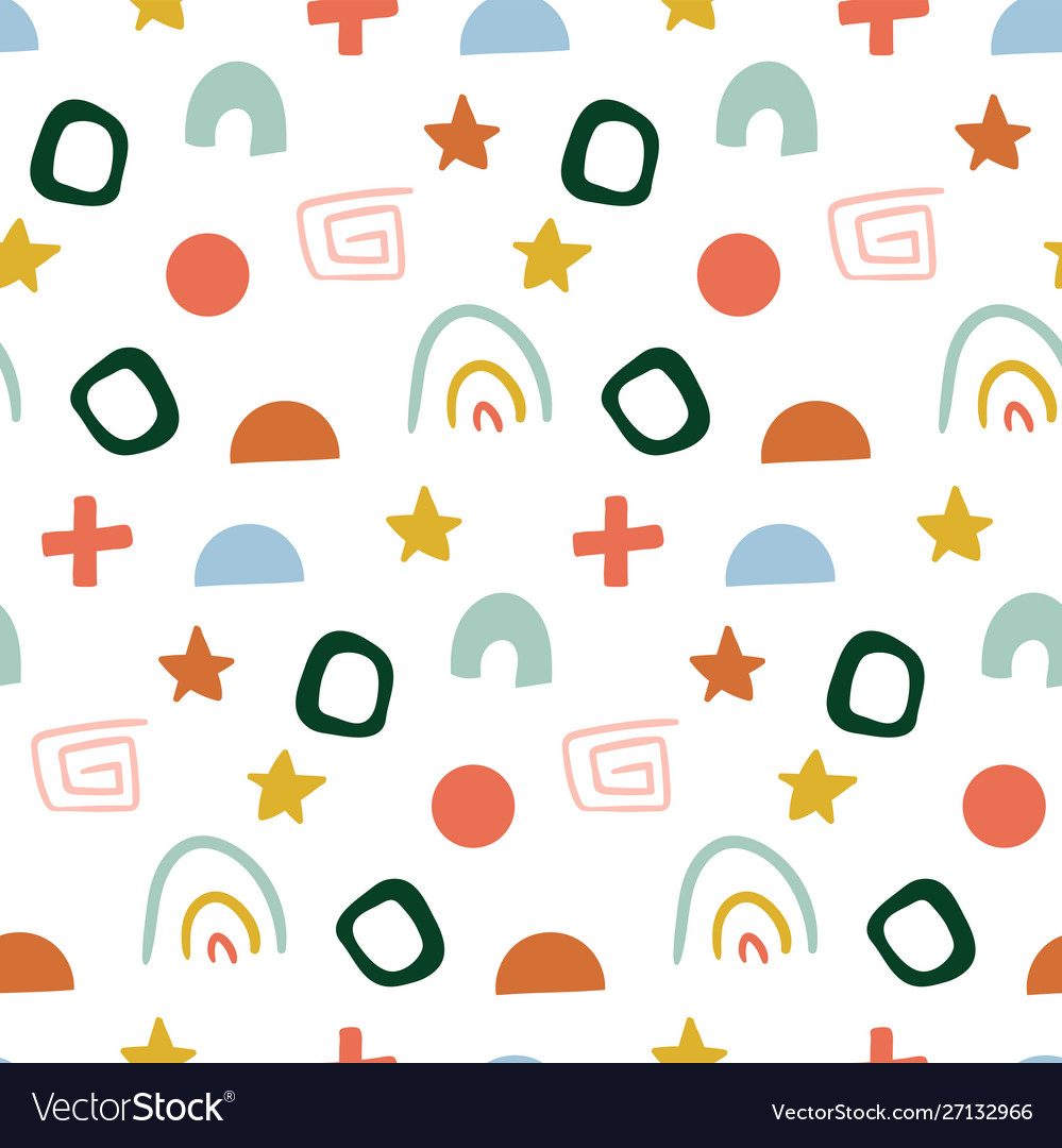 Hand drawn abstract pattern for kids seamless