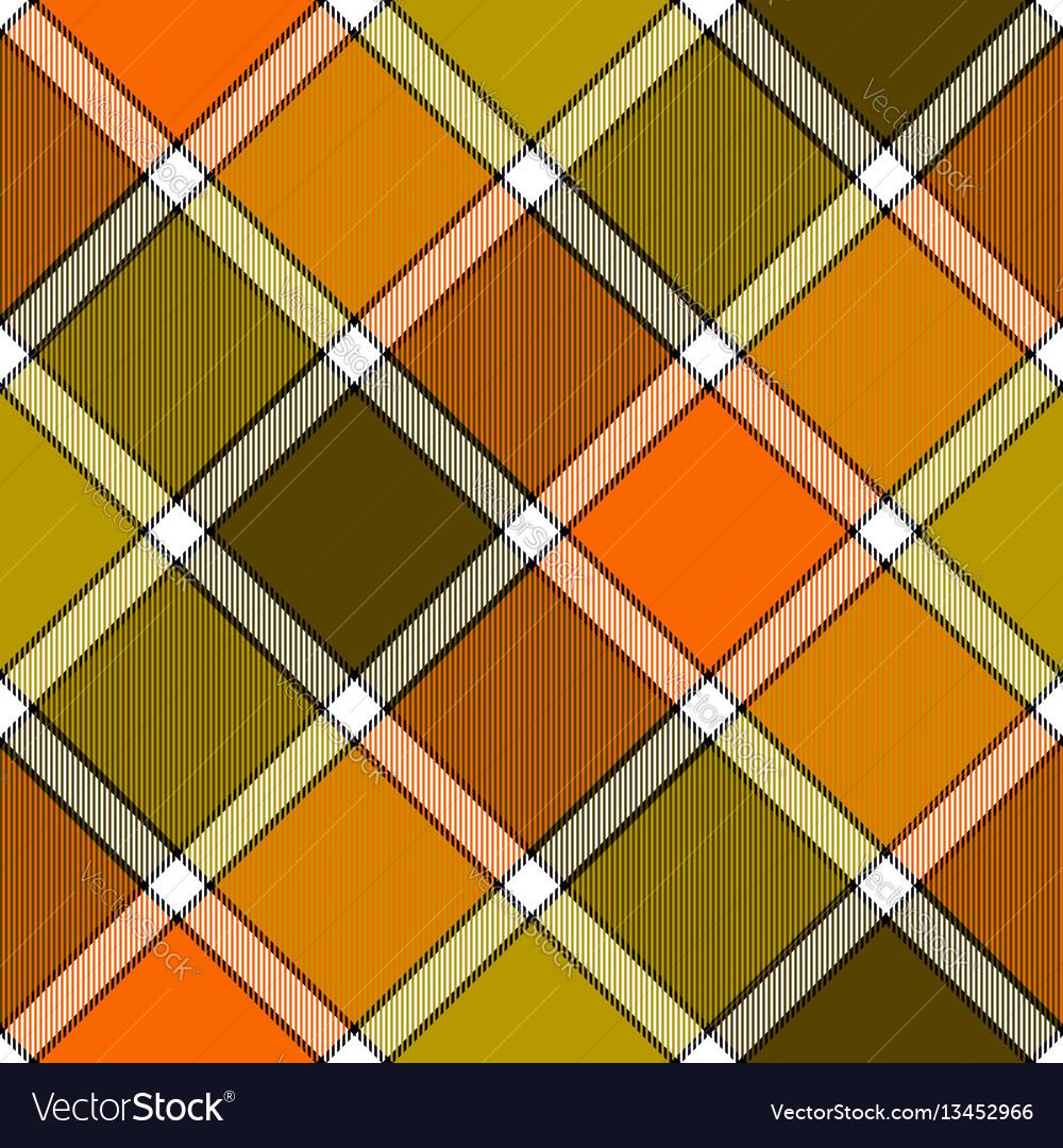 Orange khaki marsh color diagonal check plaid