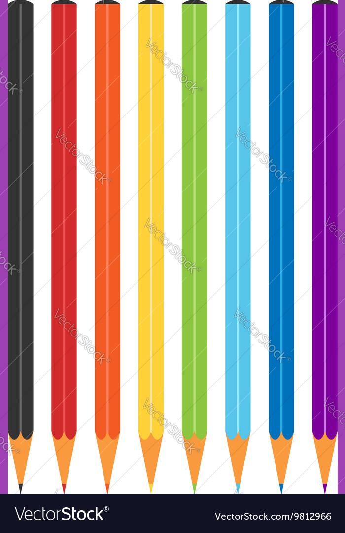 Rainbow multicolor color pencils vector image