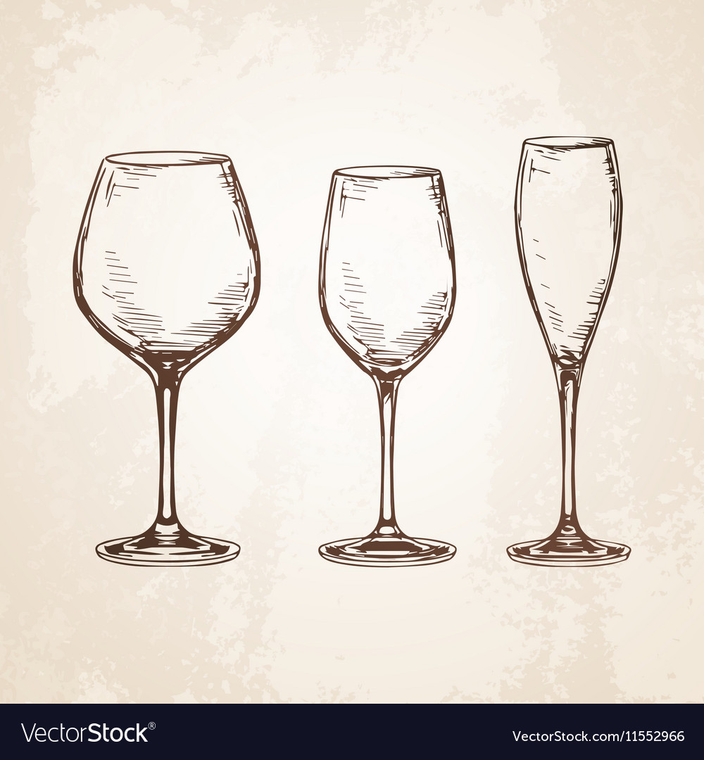 Sketch set of empty wineglasses