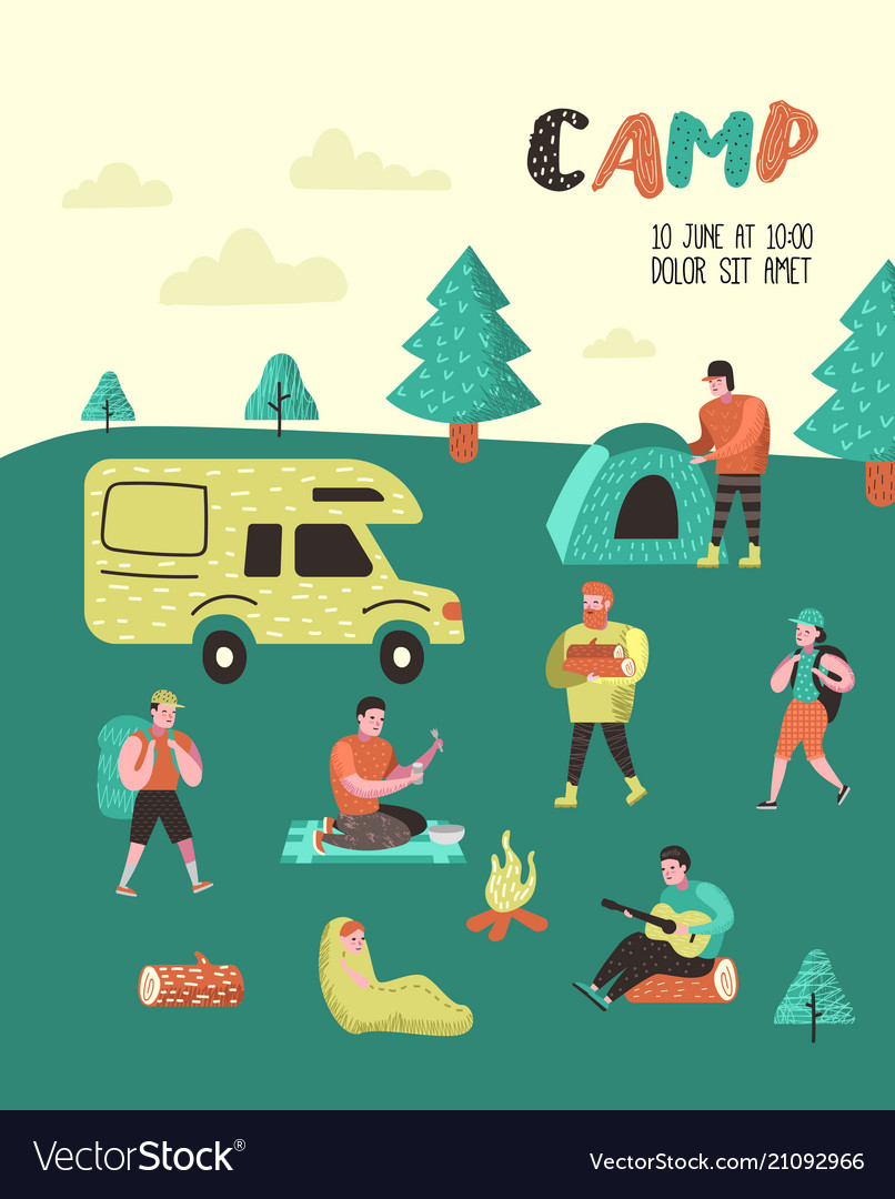 Summer camping poster banner people in camp