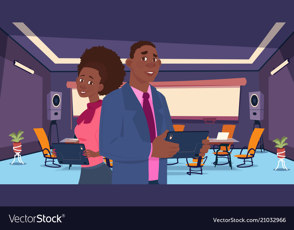 Two african business person stand back chat