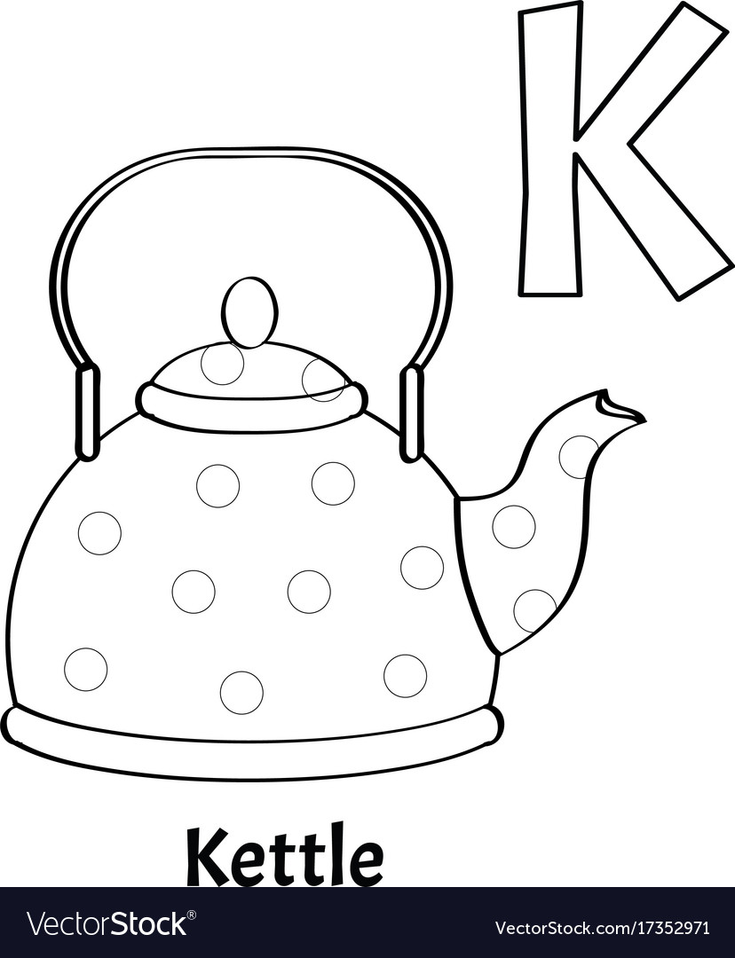 Alphabet letter k coloring page kettle Royalty Free Vector