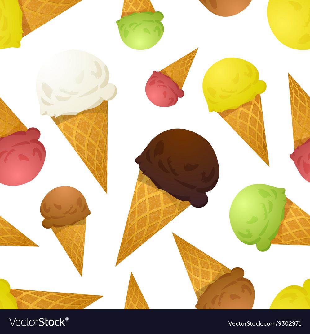 Bright colorful ice cream cones different tastes