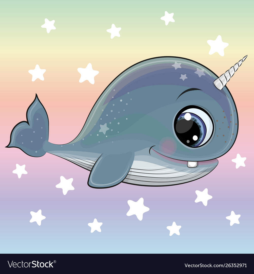 Cartoon whale with horn on a rainbow background