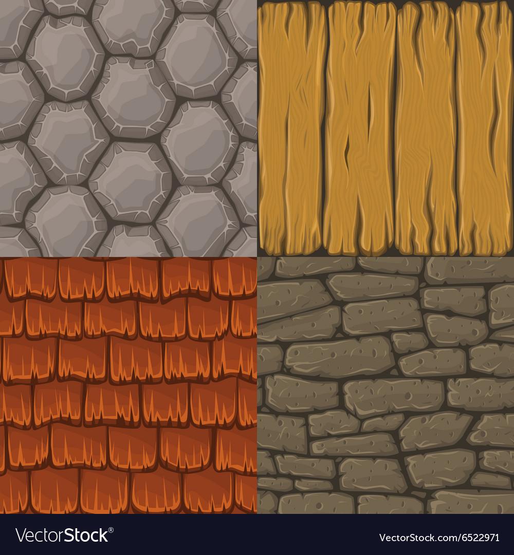 Collection cartoon seamless textures Royalty Free Vector