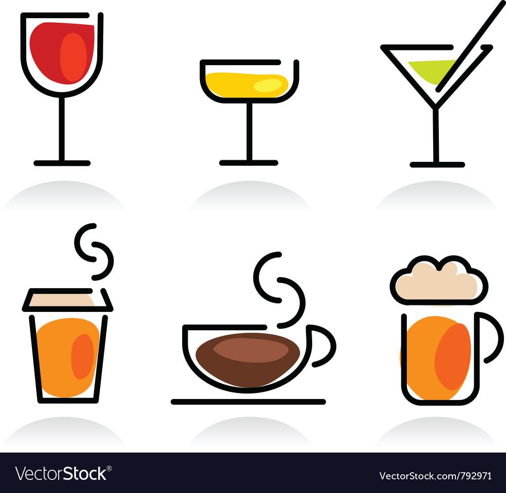 Colorful beverage icon set vector image