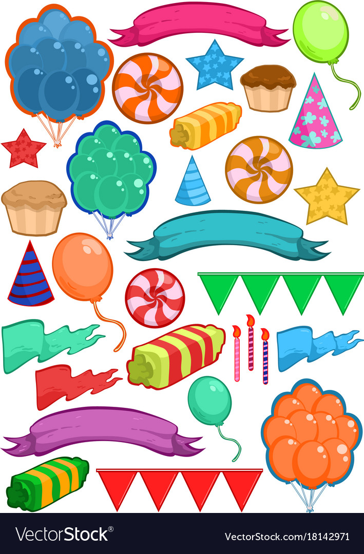 Colorful birthday party elements set