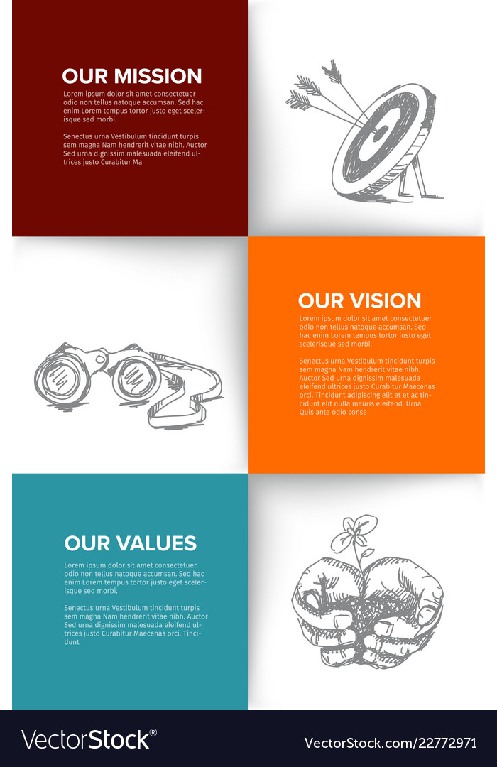 company profile template with mission vision and vector image