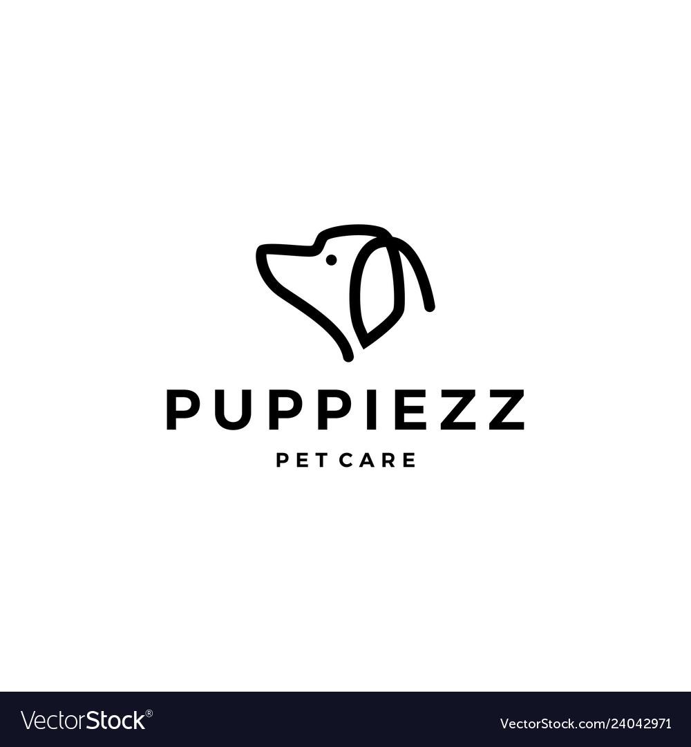 Dog head logo line outline monoline icon