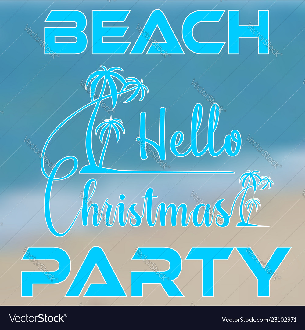 Hand lettering hello christmas with palm trees on
