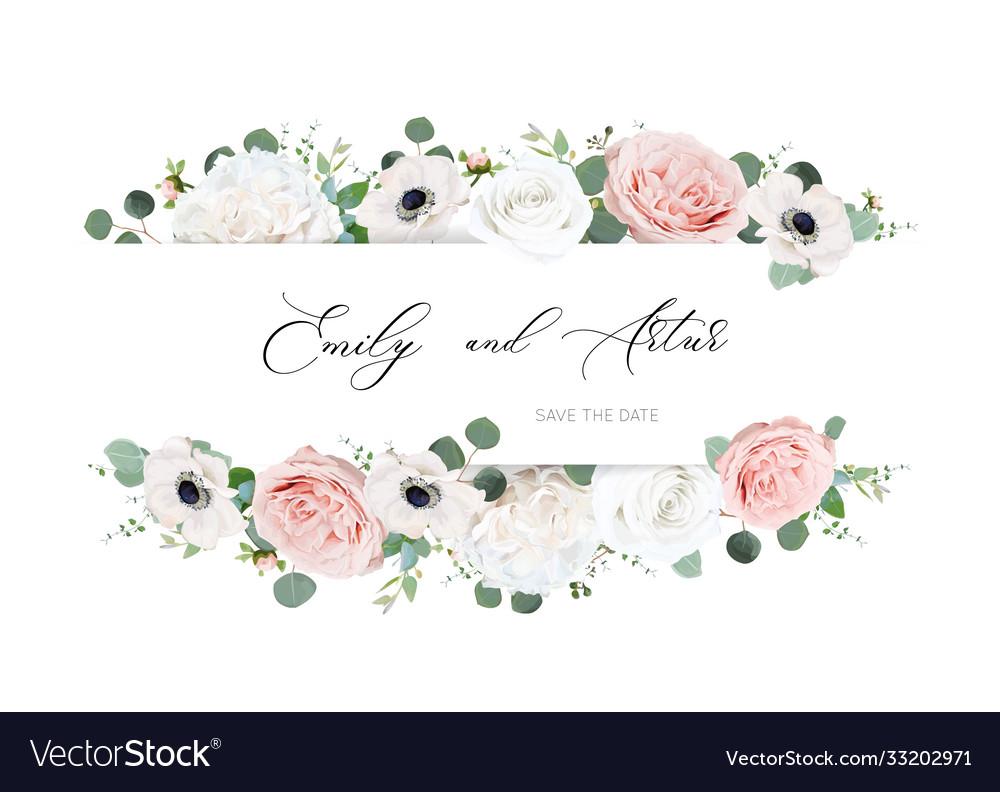 Ivory white blush peach wedding invite card floral