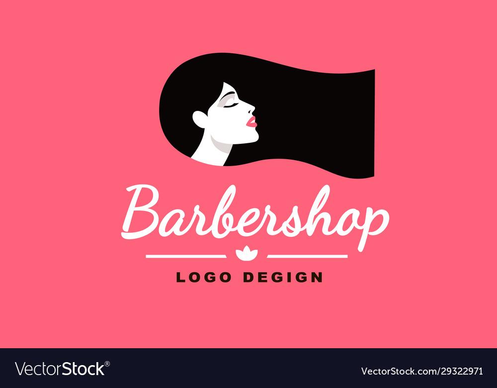 Logo brunette girl barber and fashion