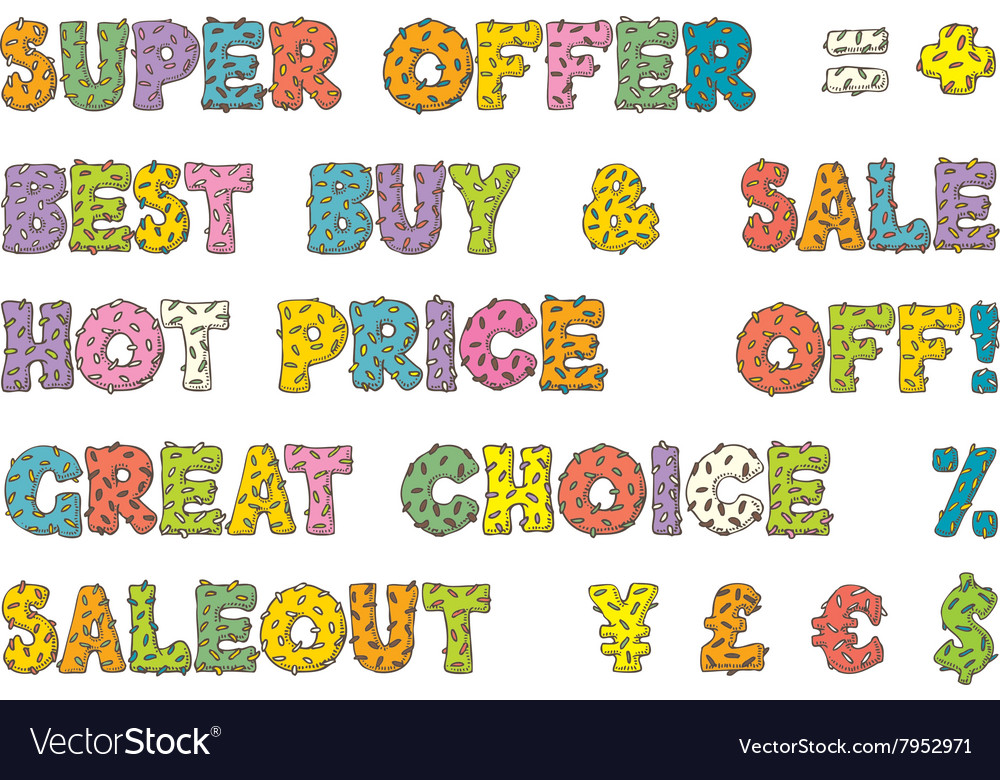 multicolored words for sales in donut style vector image