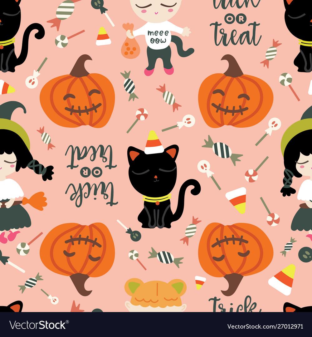 Seamless pattern halloween theme cute girls