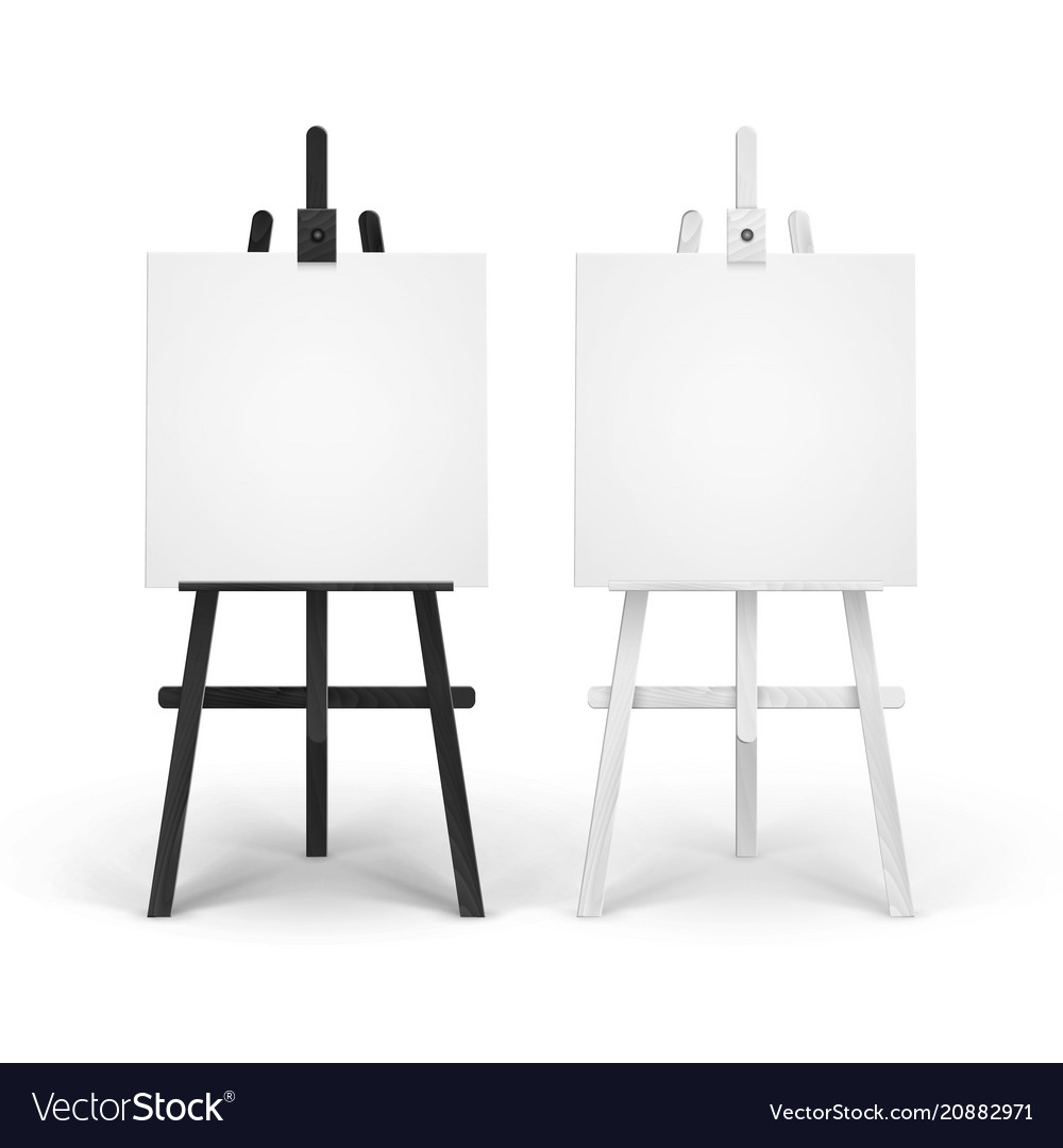 Set of wooden black white easels with mock