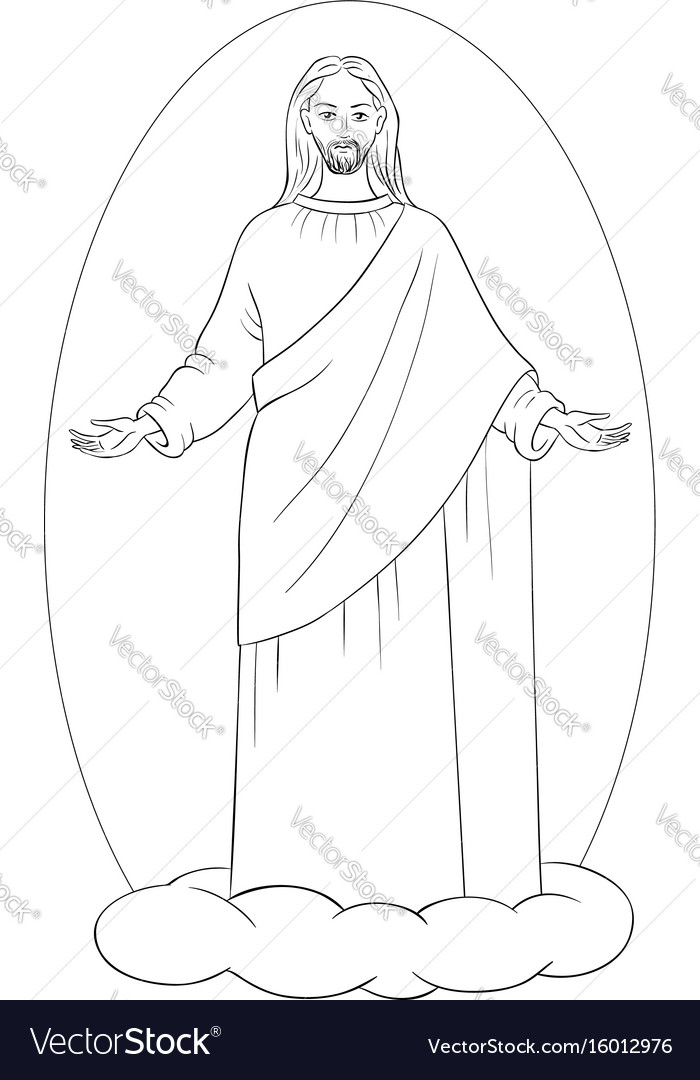 Ascension of jesus christ coloring page Royalty Free Vector