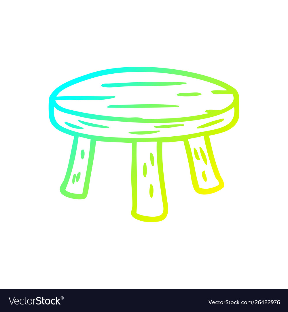 Enjoyable Cold Gradient Line Drawing Small Wooden Stool Vector Image Caraccident5 Cool Chair Designs And Ideas Caraccident5Info