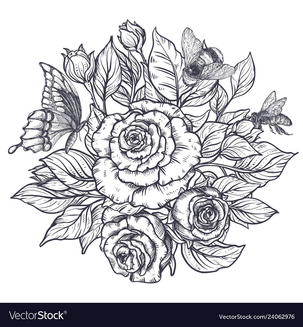 Elegant hand drawn graphic bouquet with rose