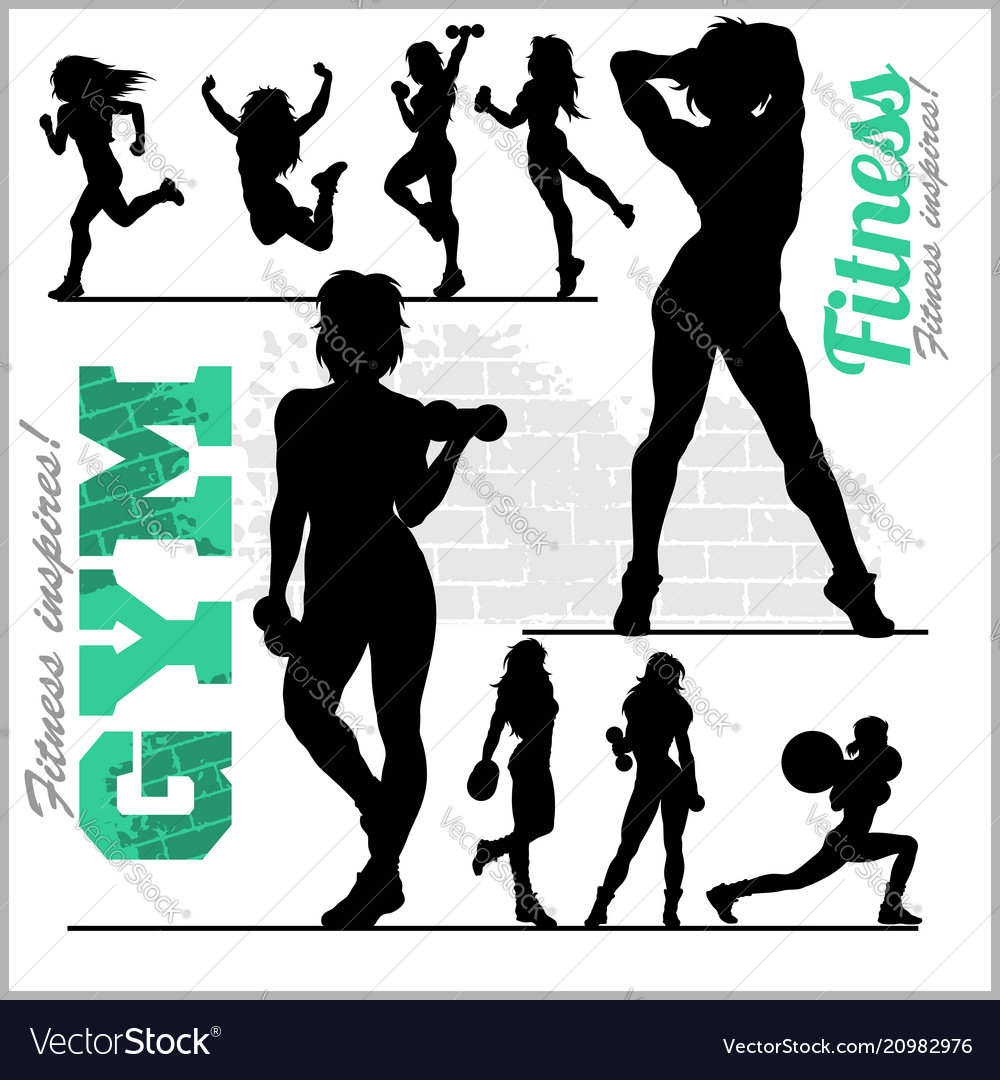Fitness woman girl silhouettes