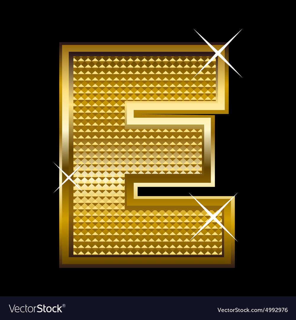 Golden font type letter E vector image