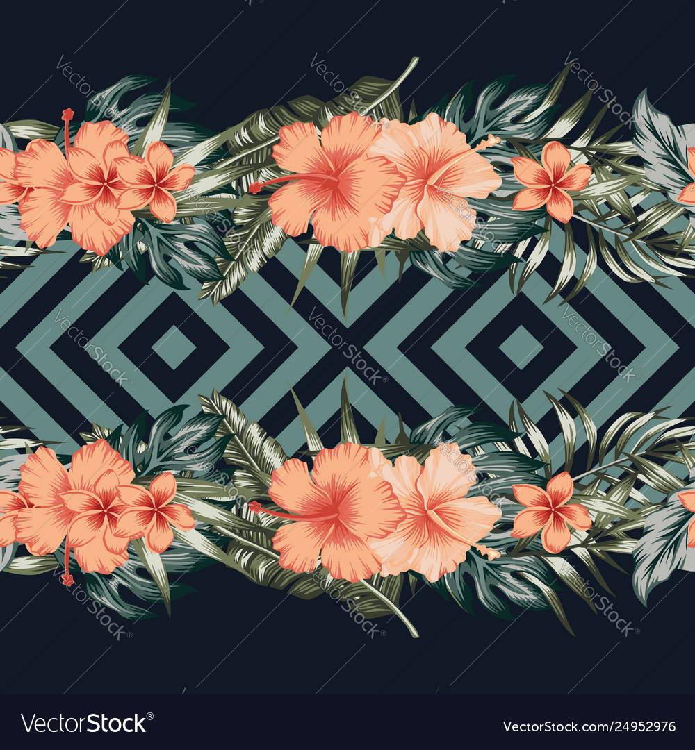 Hibiscus plumeria palm leaves border mirror