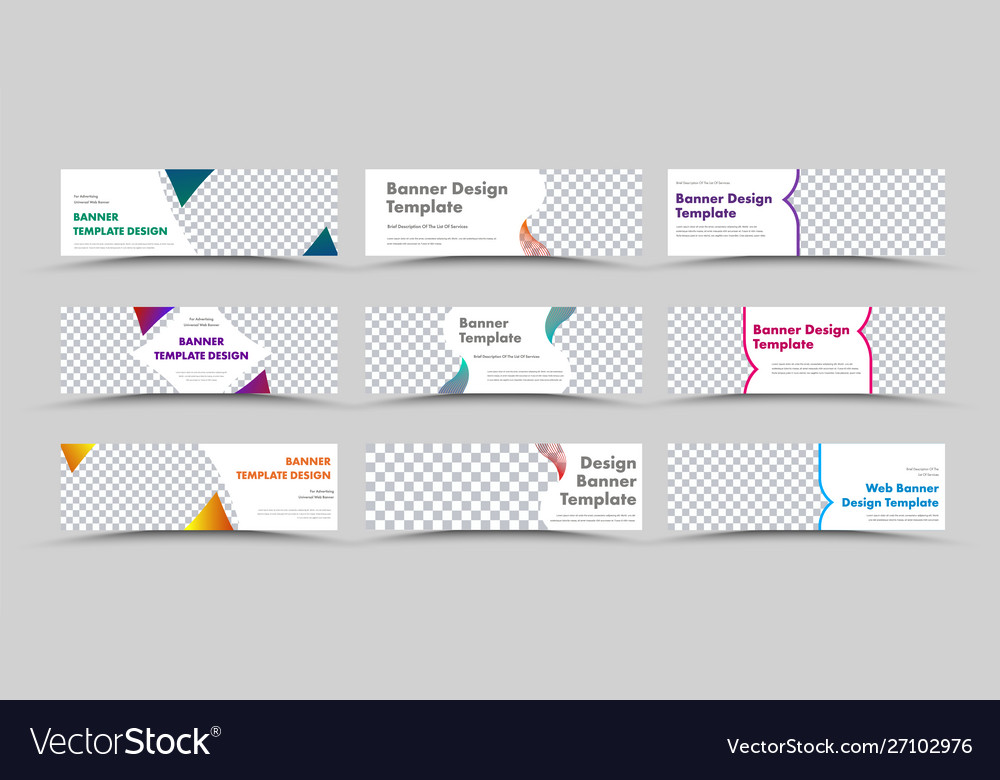 Large set horizontal white web banners with